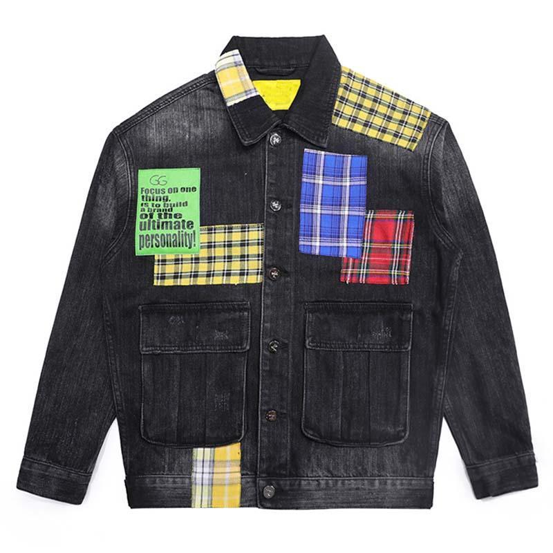 남성의 경우 Mcikkny 힙합 남성 패션 오토바이 데님 재킷 씻어 빈티지 격자 무늬 패치 워크 자전거 타는 청바지 재킷 스트리트