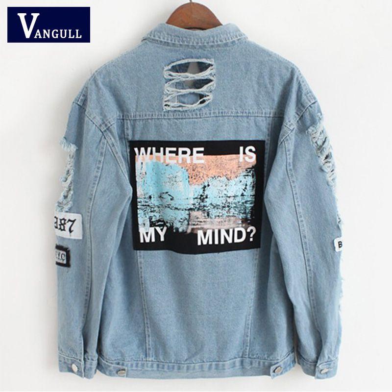 Mulheres desgastado Denim apliques Bomber Jacket Imprimir Onde está minha mente Lady Vintage elegante casaco fashion Outwear Outono Vangull 2018 T190919