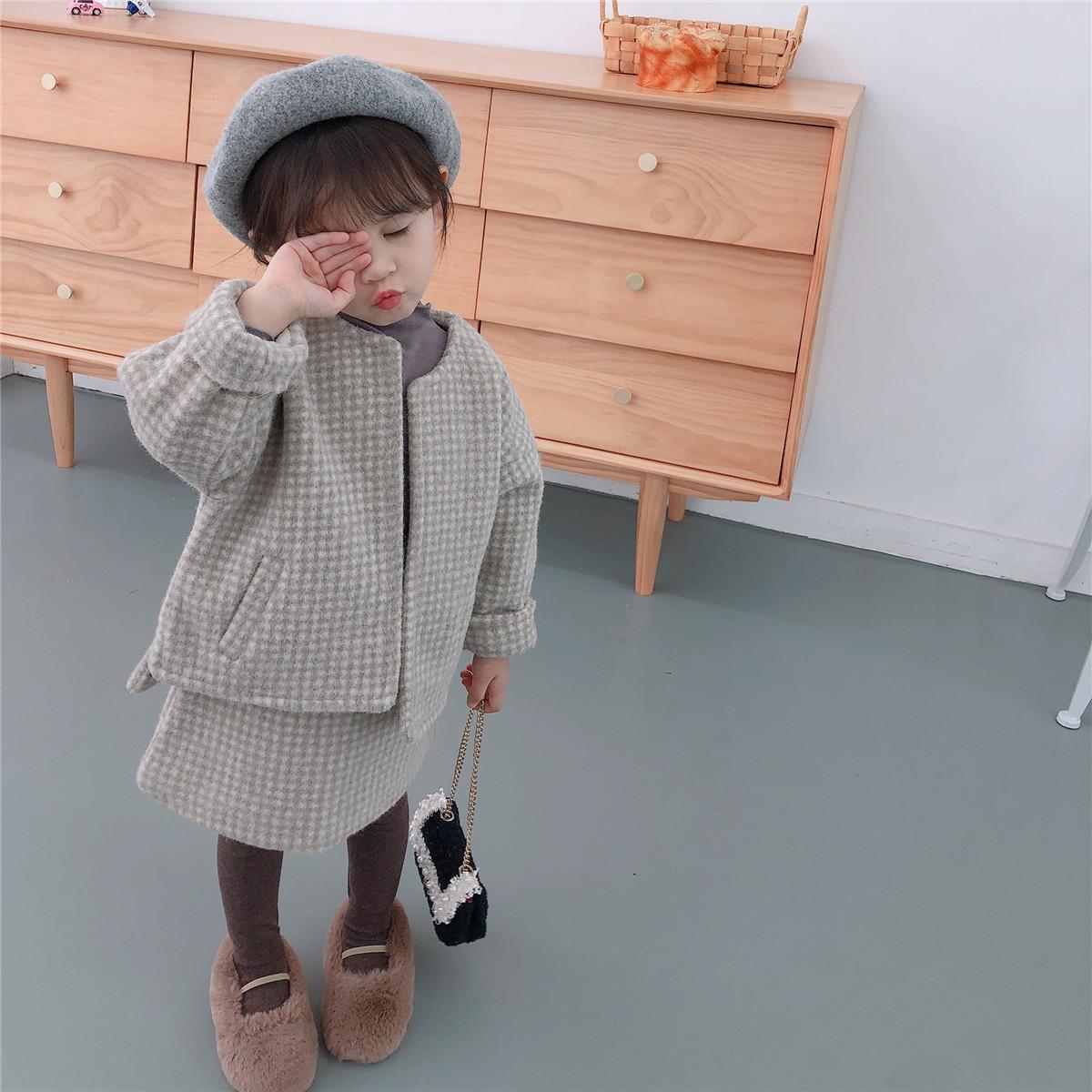 Bebek bebek kız giysileri setleri 2019 kış çocuk Uzun kollu Overskirt yürümeye başlayan kız sıcak yün ceket ceket Iki parça takım elbise T200414