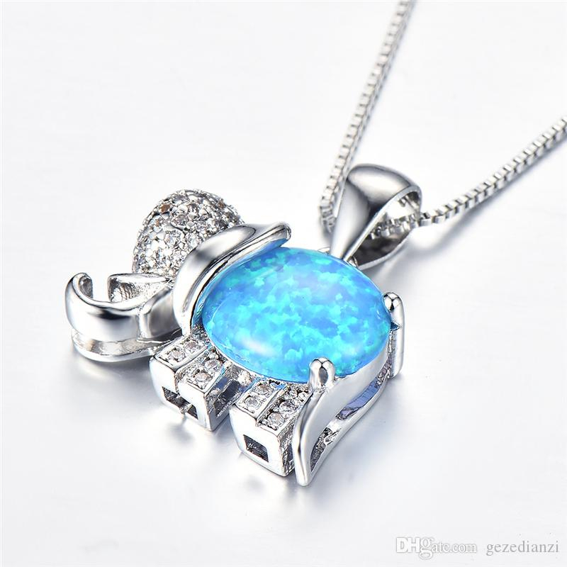 Incantevoli pendenti con elefante di opale di fuoco arcobaleno 925 collane di opali blu placcati argento per donne di cristallo da sposa di moda