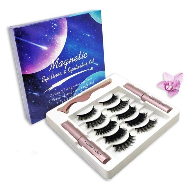 Cinco pares de pestañas magnético con dos magnética ojos líquido fácil de usar Lashes Juego de herramientas de maquillaje