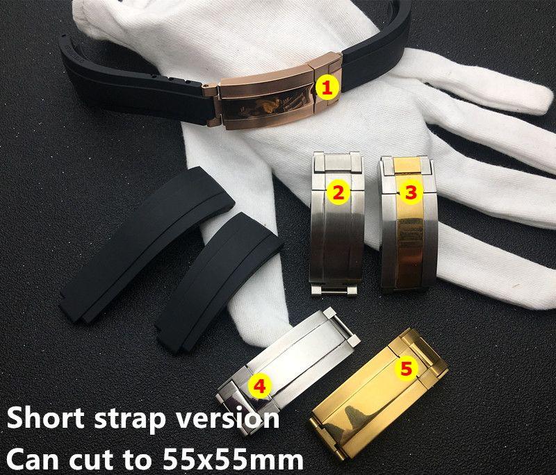 silicone la plus courte de 20 mm en caoutchouc noir Bracelet bracelet pour bracelet rôle GMT OYSTERFLEX Bracelet outil gratuit