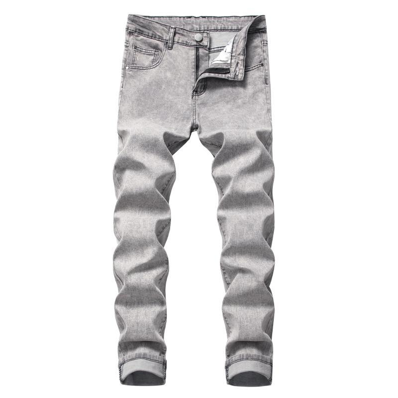 BOO 2020 Мужская Натяжные Тонкий джинсы подросток серый деним брюки