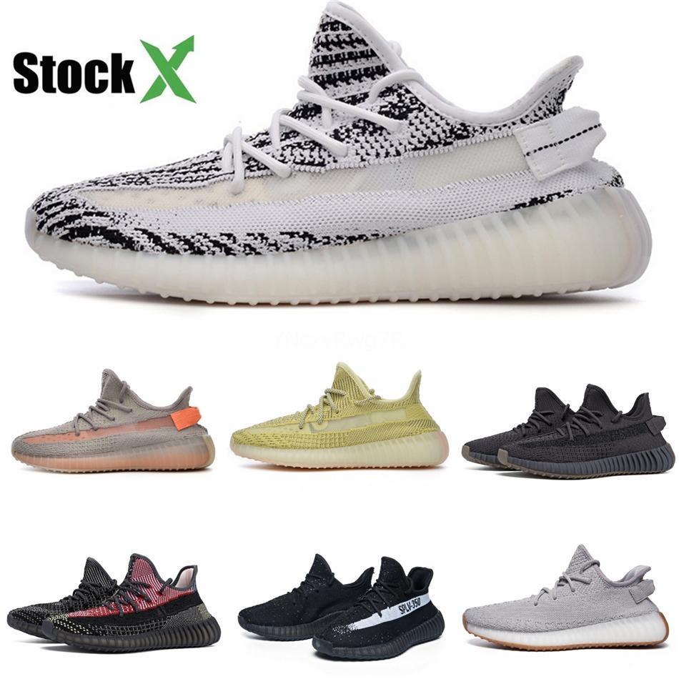 New Kanye West Yecheil White Cloud Citrin Chaussures de course pour Black Clay Glow statique Designer Sport Baskets Sneakers Us5-Us11 # QA602