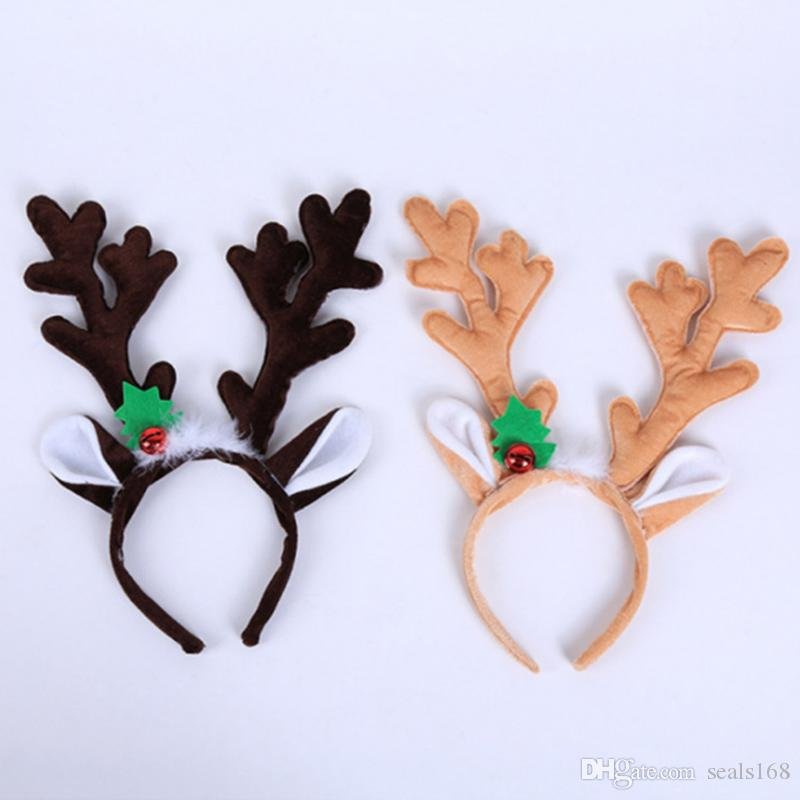 New Christmas Headband Hat Fancy Dress Hat Reindeer Antlers Santa Xmas Kids Baby Girls Adult Novelty Hairwear For New Year Gift HH9-2551