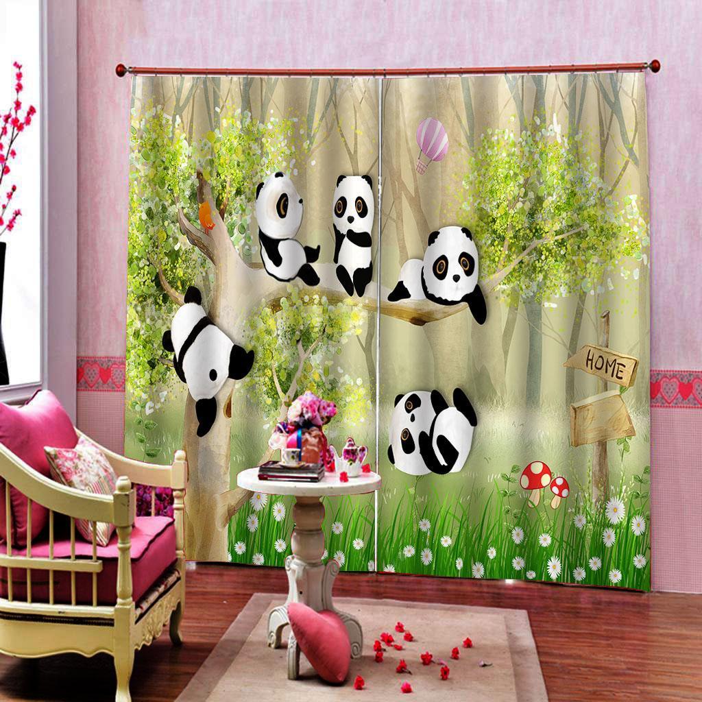 Parc animalier Panda Rideau pour enfants Salon Chambre Blackout Fenêtre Tentures Home Décor personnalisable toute taille