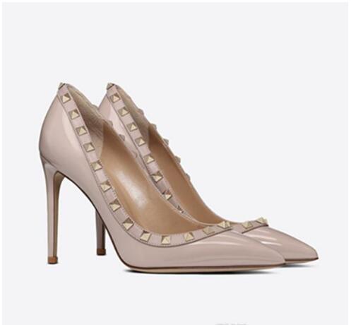 bayanlar için Sıcak Satış-Sıcak V klasik tasarımcı yeni yüksek topuklu, şık deri bayan sivri perçin parti düğün yüksek topuklu + kutu
