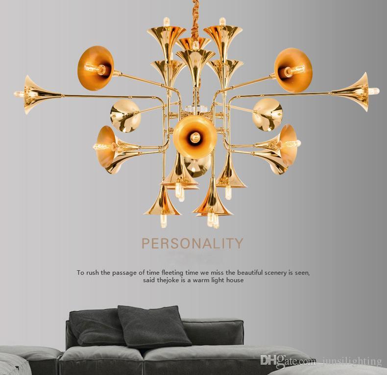 Industrial wind post-modern speaker big pendant lamp simple creative personality double floor villa pendant lights gold