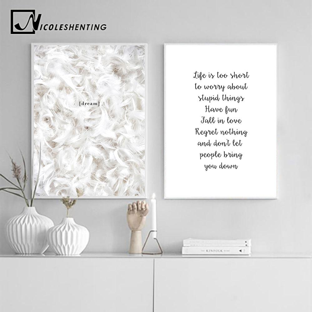 Feather Life Quote Canvas Posters Prints Minimalist Motivational Wall Art Painting Nordic Decoration Pictures Modern Home Decor