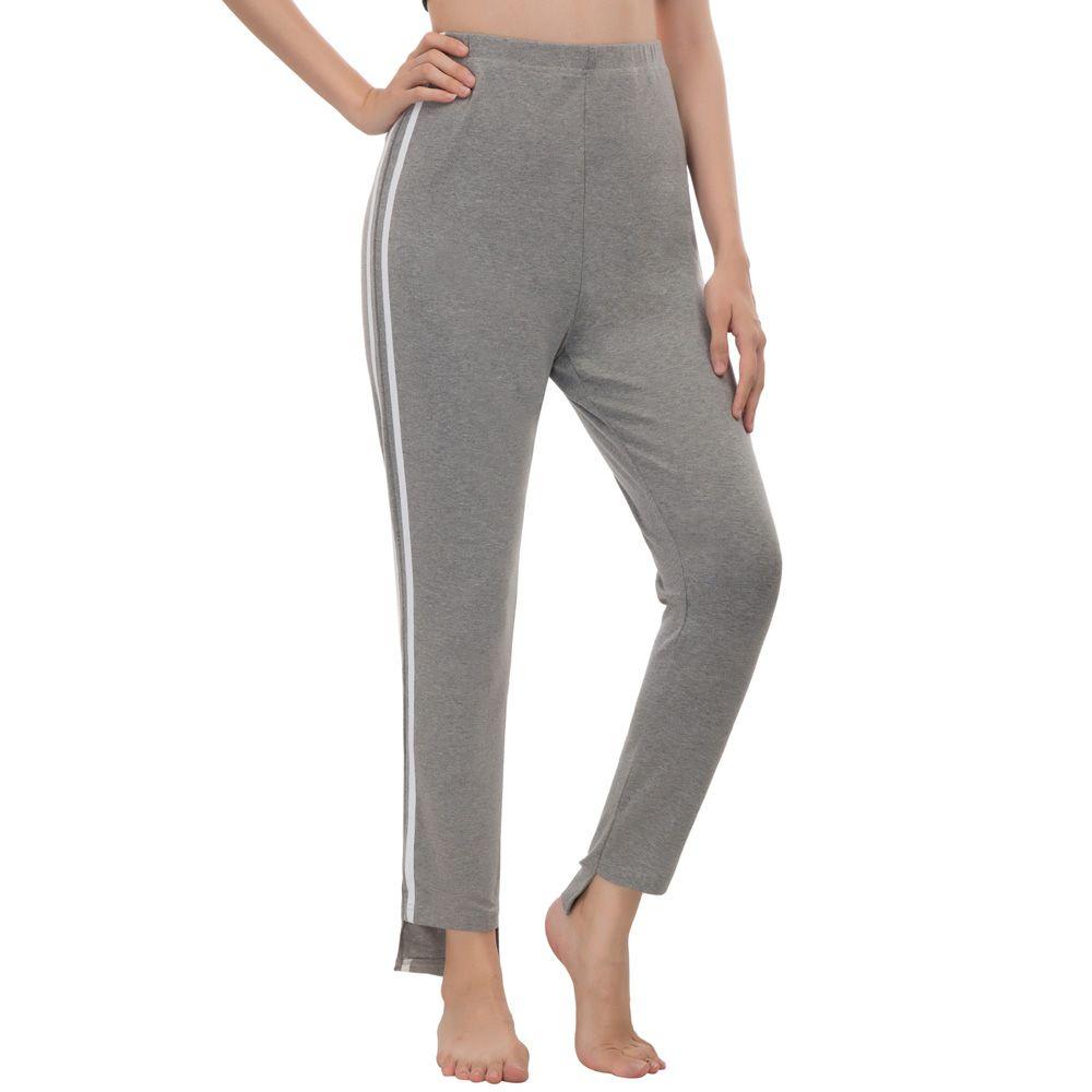 Womens Fashion Slim Fit Contrast Stripe Cropped Length Pants Capri Leggings