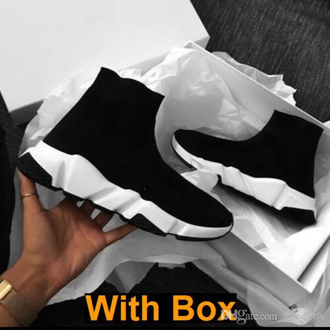 Com Box tamanho 2019 sneakers Designer Socks velocidade Trainers Knit Paris Sock Sapato Sock Knit Triple S Botas Trainers Runner 36-45 Homens Mulheres