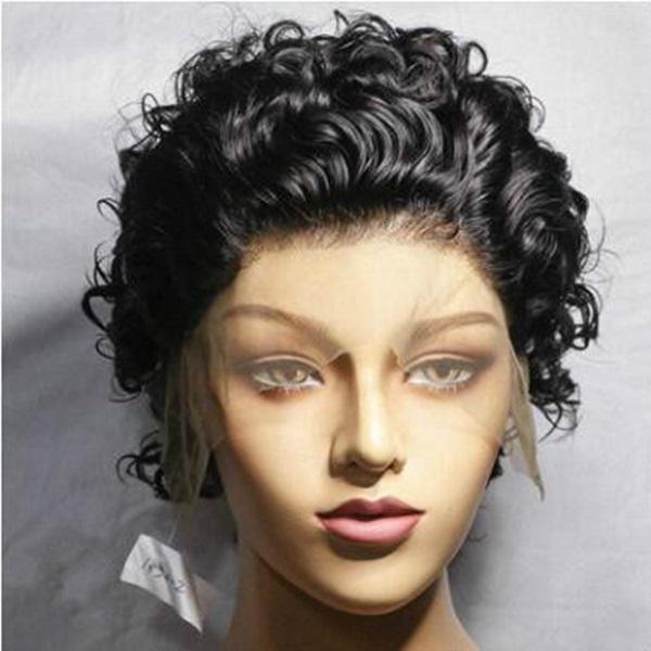 Wondero Kıvırcık Bob fransa Dantel Açık Wigu 120 Desnity Pixie Cut Wigo Kısa Curlg İnsan Saç Wigk Remy Brezilyalı Doğal Kıvırcık Shorty Wigy