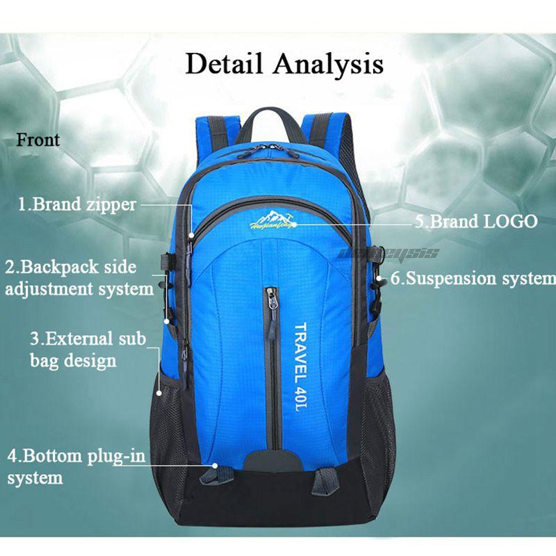 Outdoor Sport Hiking Camping Pack Travel Backpack Mountaineering Climbing Backpacking Trekking Bag Knapsack