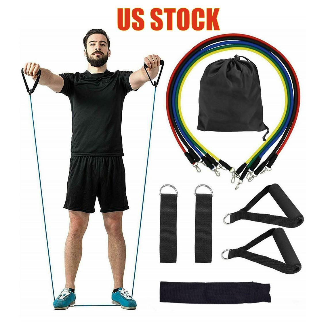 US Stock 11pcs/set Pull Rope Fitness Exercises Resistance Bands Latex Tubes Pedal Excerciser Body Training Workout Elastic Yoga Band