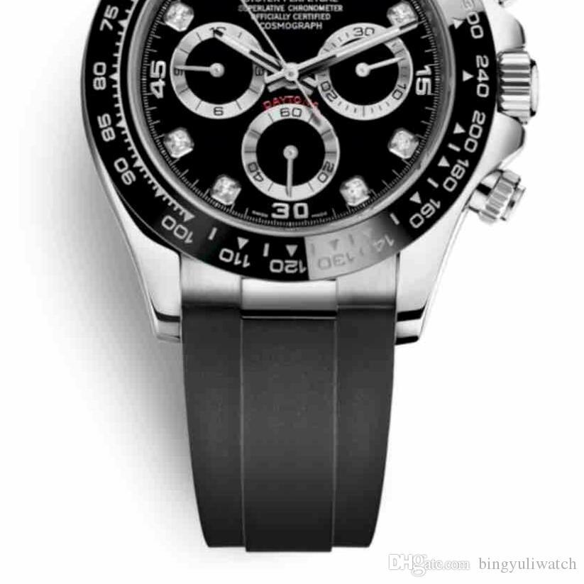 Lusso JHF Swiss Watch 116519LN 116519 Black Diamond Dial Chronograph Working Cal automatico. 4130 il movimento Rubber Strap Mens Orologi