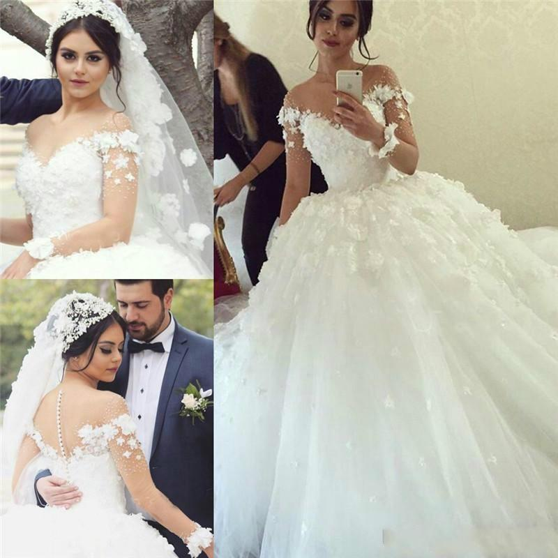 Amazing Illusion Long Sleeves Wedding Dresses Sheer Neck with Lace Applique- 3D Flowers Tulle Bridal Gowns Covered Button Puffy Tulle A Line
