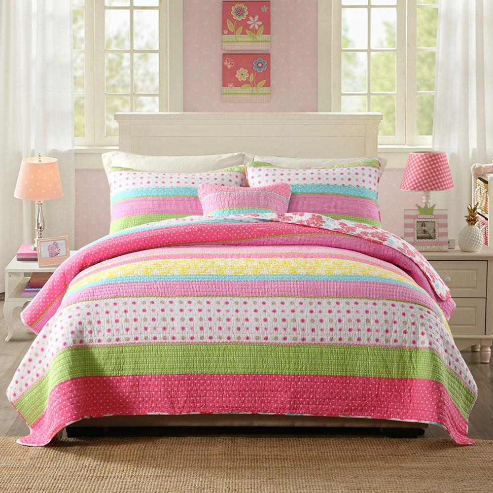 CHAUSUB Bedspread Kids Quilt Set Cotton Coverlets Quilted Bed Covers Shams Pink Girl Quilts 2pcs 3pcs Queen Twin Size Blanket SH190917