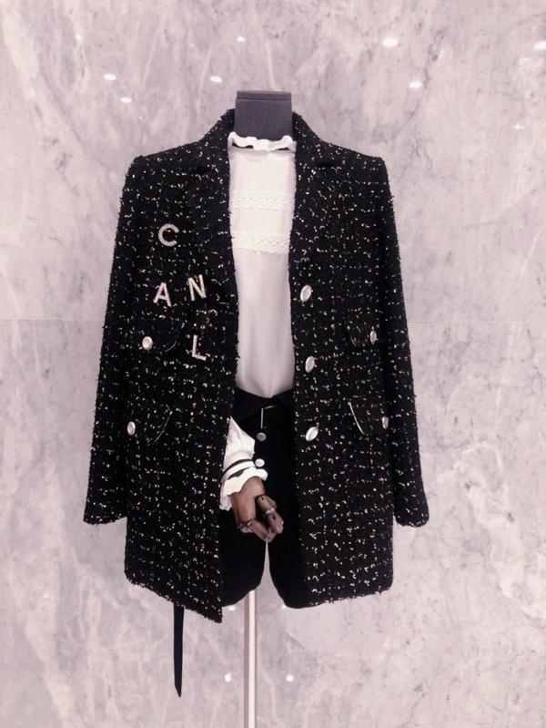 turno di alta qualità delle donne della molla nuove giù collare lurex tweed di lana ispessimento del tessuto di medio lungo manica della giacca lunga giacca sportiva casacos SMLXLXXL
