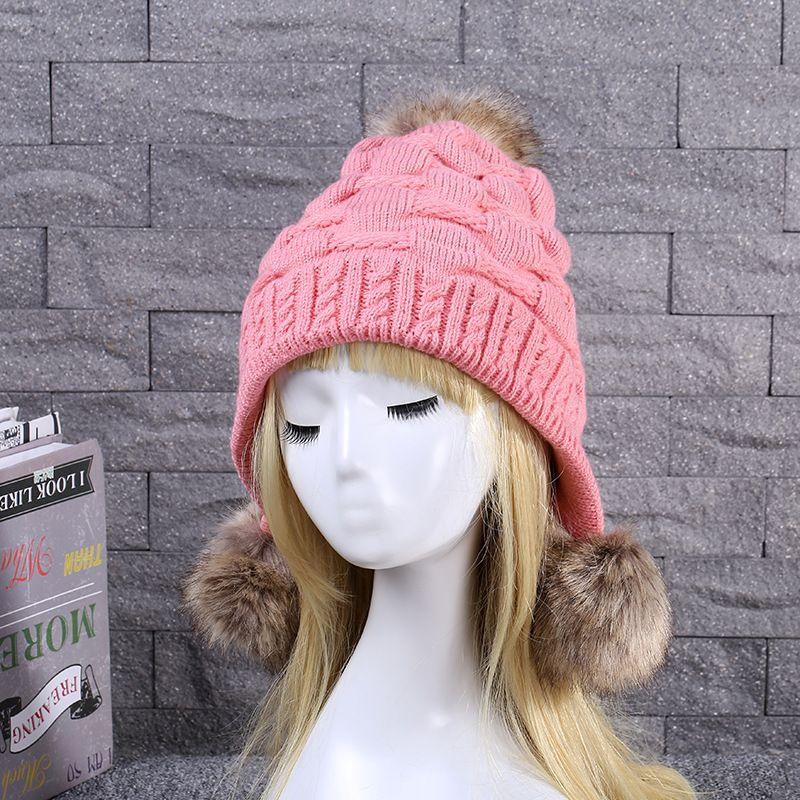 Mulheres Macio 3 Ball Fur Hat Crânio Ladies Beanie Moda inverno quente Cap Ski Sólidos Crochet Malha com veludo Partido Outdoor Hat