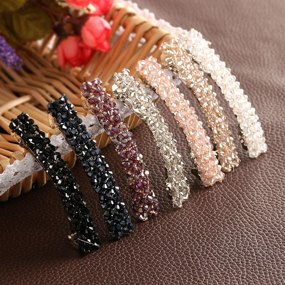 1Pcs Bling Crystal Hairpins Headwear forWomen Girls Rhinestone Hair Clips Pins Barrette Styling Tools Accessories 7 Colors C19010901