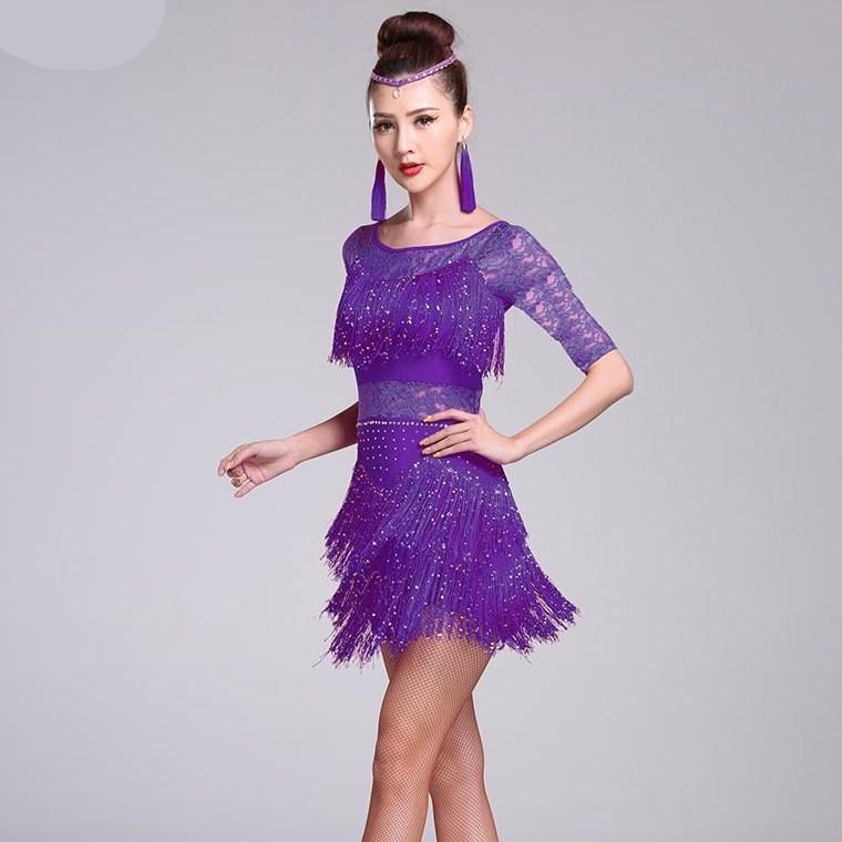Красных латинских танцы костюмы Женщины Сальса Dancewear танец костюм платье Бальные платья Конкурс танго для взрослых Fringe блесток