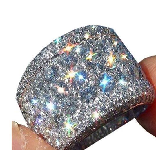 16mm Largo Grande zircone Anelli di diamanti di lusso placcatura platino fascia per le donne Mens 925 gioielli