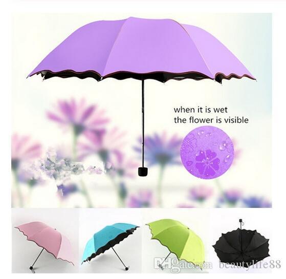 سيدة أميرة الزهور السحرية قبة البارسول الشمس / المطر للطي مظلة مظلة النساء شفافة مظلة النحاس المفاصل للنساء