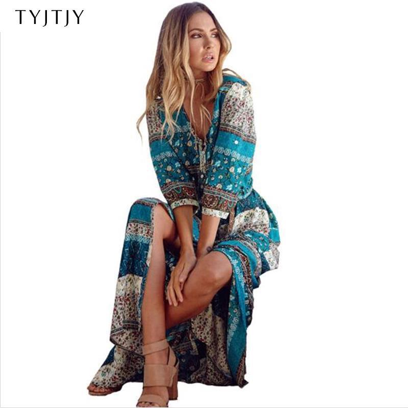 2018 nouvelle impression bohème longue robe femmes maxi longue robe imprimé floral rétro hippie robes chic marque vêtements boho