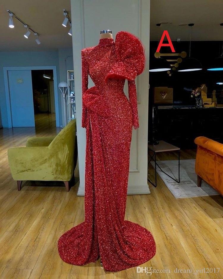 Cinco Estilos lindo comprida feminina Vermelho Mermaid Evening vestidos de lantejoulas Formal Evening Vestidos Prom Dress ogstuff robe de soiree Abendkleider