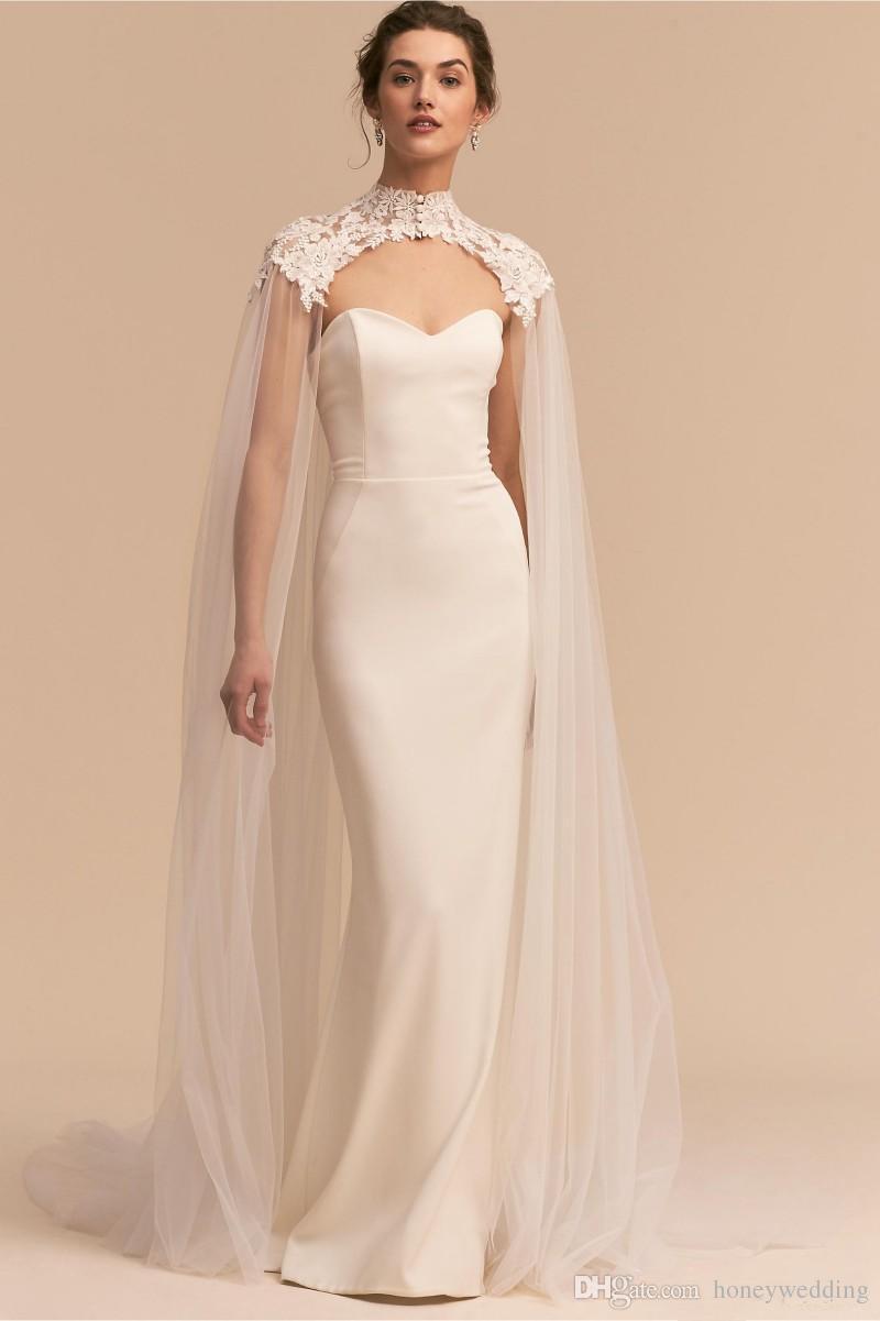 Appliques White Tulle Wedding Dresses Cape Bridal Gowns Long Cloak ...