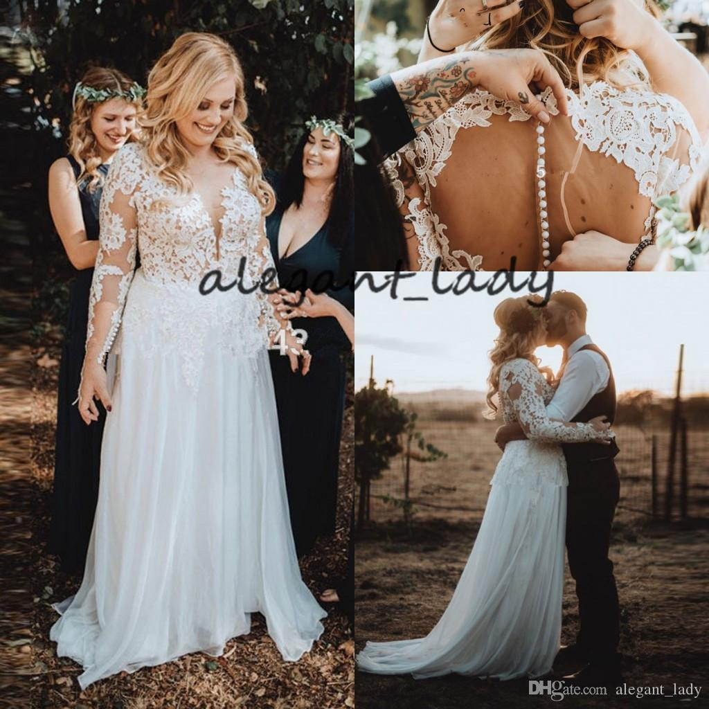 Plus Size Boho Wedding Dresses with Long Sleeve 2019 V-neck Full Lace Applique Sheer Back Covered Button Beach Country Wedding Gown