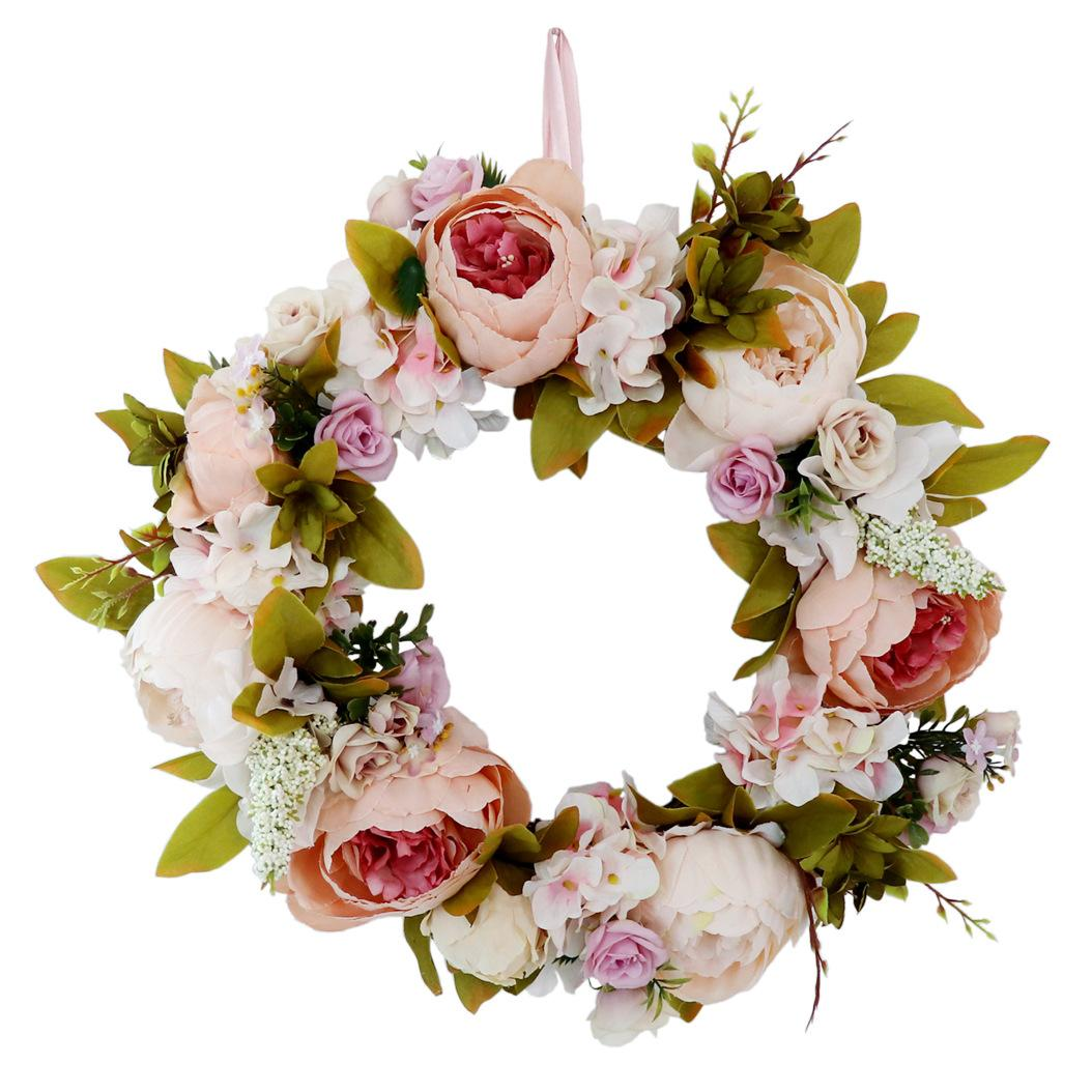 2020 Beautiful Artificial Peony Wreath Home Decoration Vintage Champagne European Church Wedding Wall Decoration Wreaths For Front Door From Reliableseller2020 14 58 Dhgate Com
