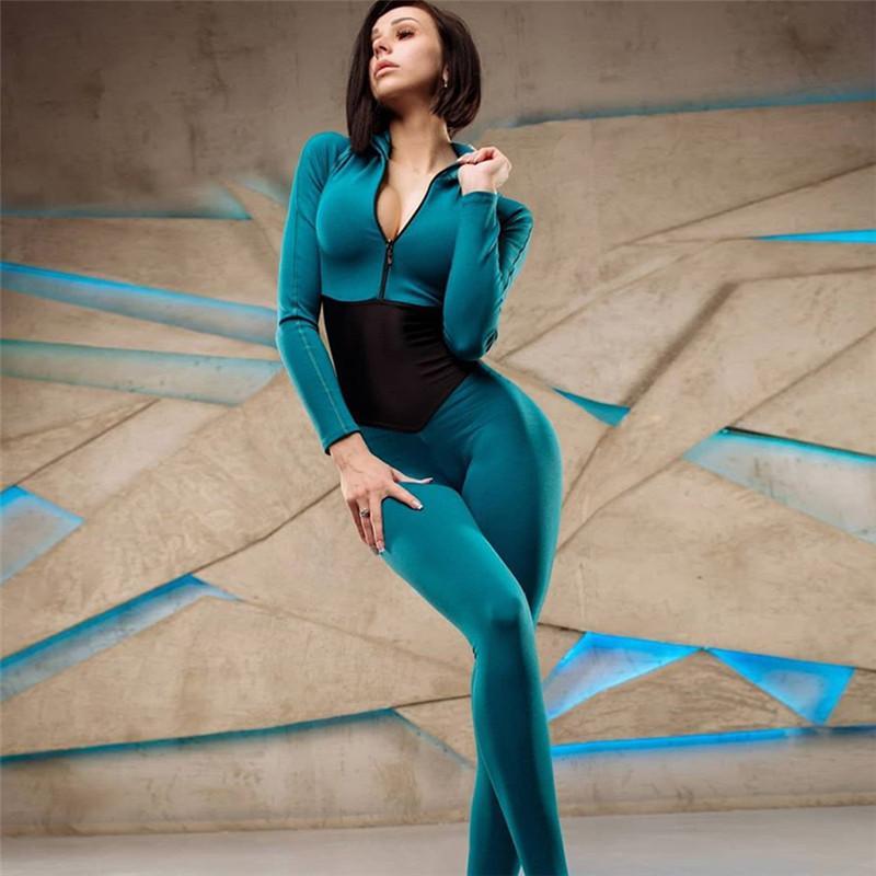 2019 Sexy Women Fitness Jumpsuit Front Zip Manga Longa Turtleneck One Piece Jumpsuit Macacão Bodysuit Tights Playsuit Catsuit T200401
