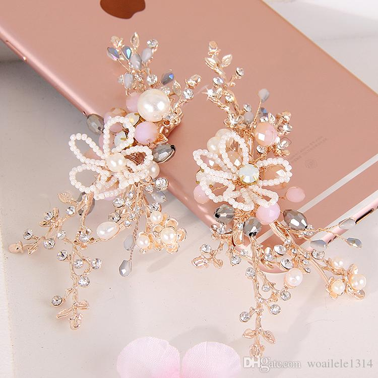 16*11.5 cm 2 Pcs Wedding Prom Bridal Bride Flower Rhinestone Pearl Hair Accessories Tiaras Headpiece Hair Clip Pins Jewelrys