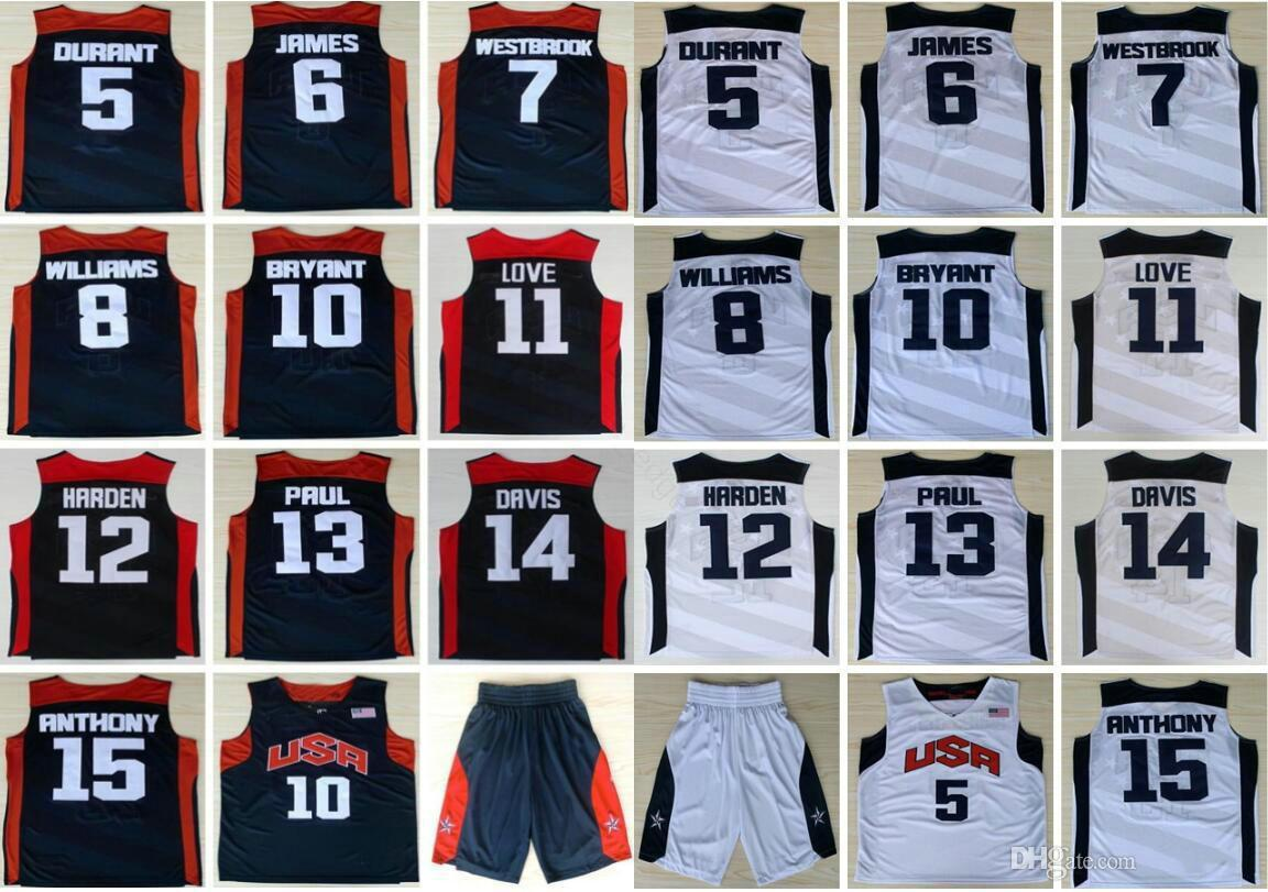 2012 Equipo de EE.UU. Kevin Durant 5 6 LeBron James Harden 10 K B Chris Paul Kevin Love Anthony Williams Westbrook Davis jerseys del baloncesto
