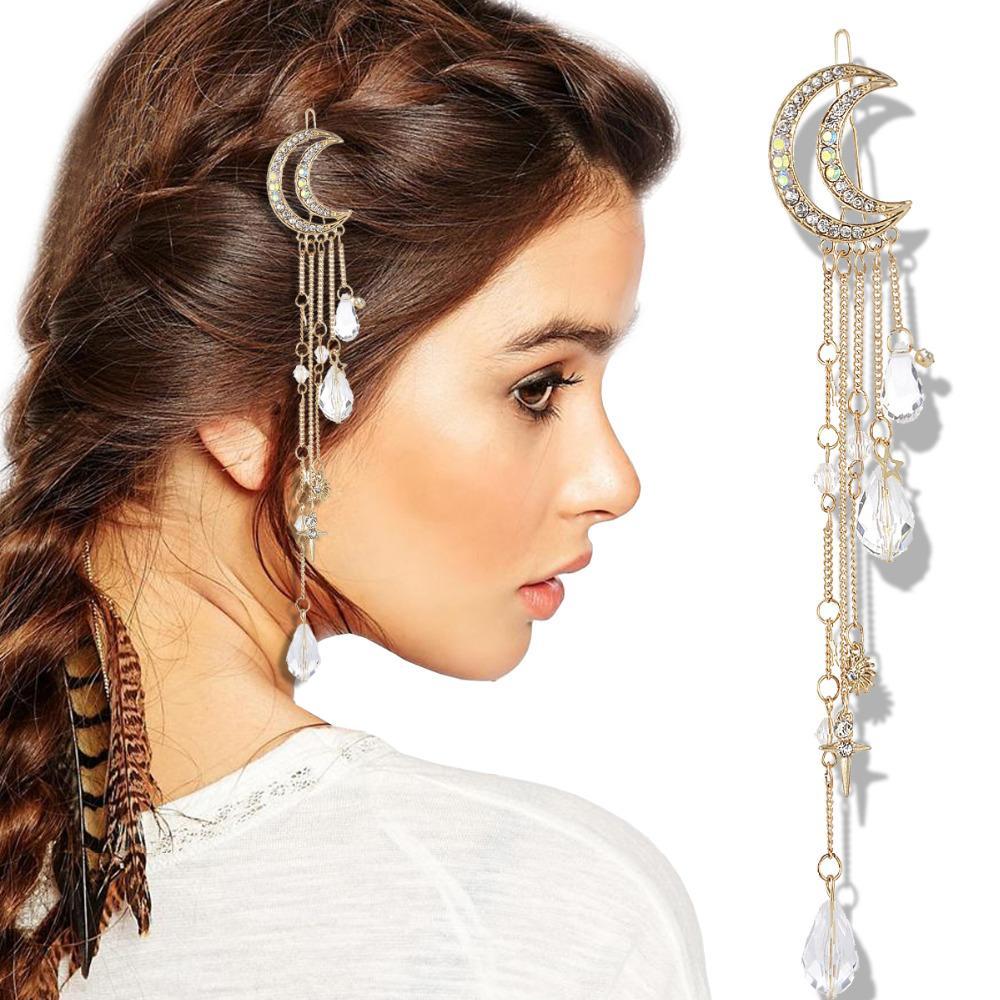 Gypsy Hair Accessories Cuff Dress Clips Pin Jewelry Girl Bridal Crown Tiara Gold Moon Star Cross Tassel Teardrop French Updo