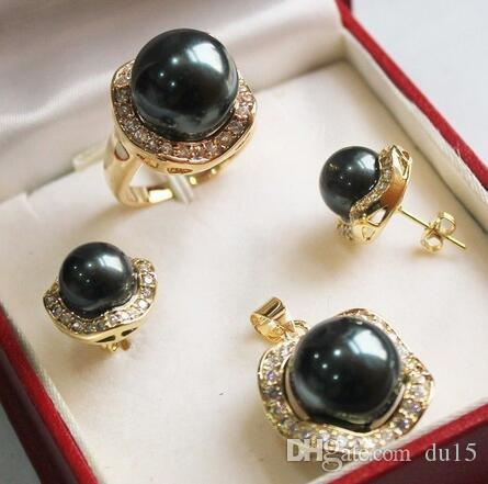 Cheveux plein perruques Magnifique Coquillage Noir Perle Collier Boucles D'oreilles Bague Définit le style Fine Noble Real Naturel