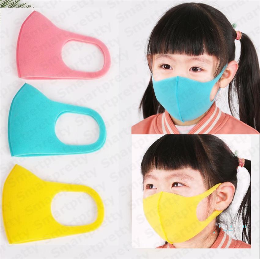 3 adet / grup şeker renk çocuk Sünger maskeleri kullanımlık 4-12 T Boy kız maske Pm2. 5 toz geçirmez anti-duman nefes maske 3D ağız kül E31709