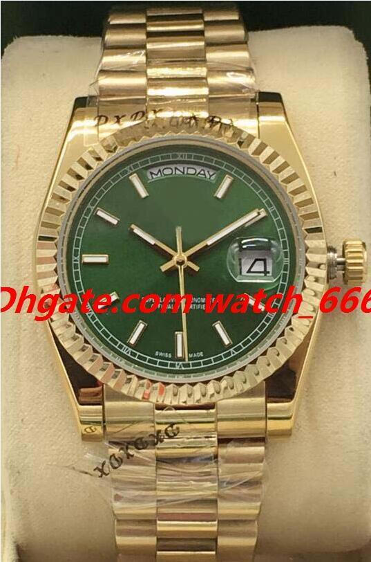 Nueva versión de lujo del reloj 8 del estilo 18K de oro amarillo 118208 118238 Índice de Garantía Dial 36 mm de acero estriado hombres de la manera relojes automáticos
