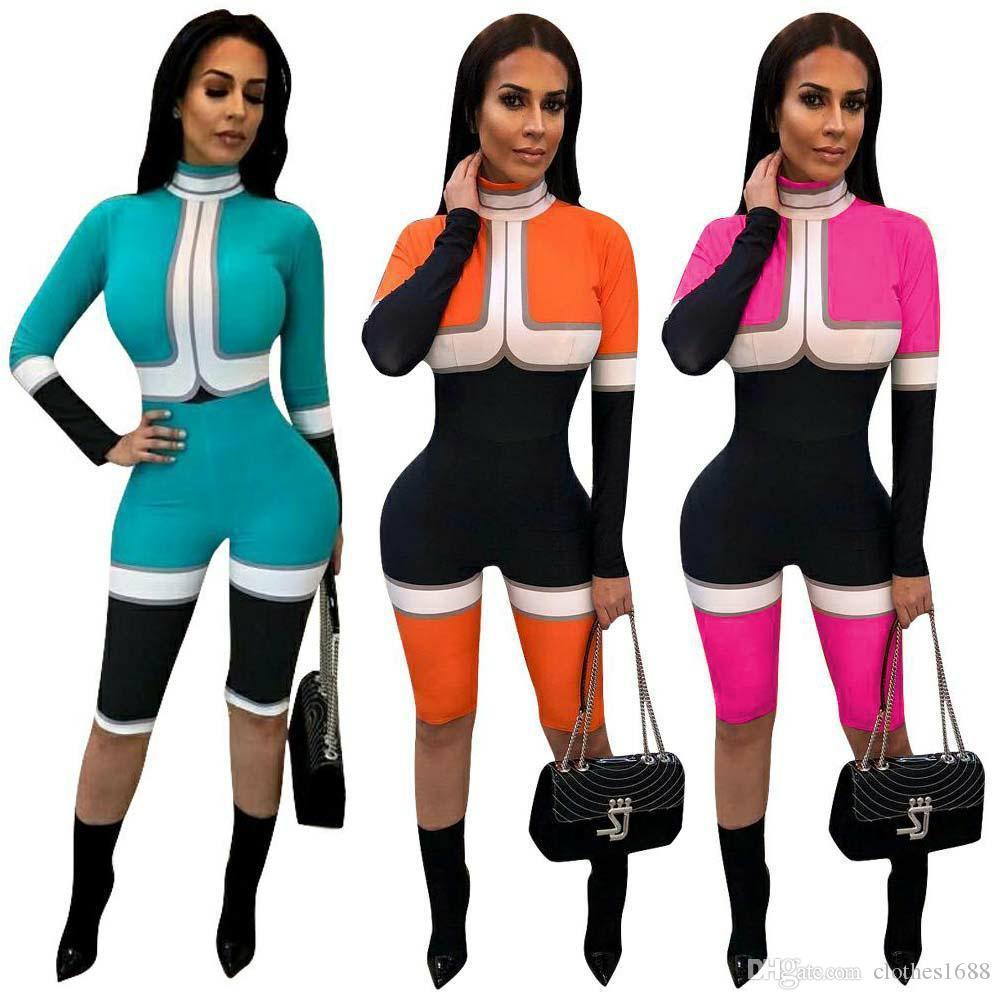 Großhandelsdesignerfrauen kleidet die reizvollen langen Hülsenpatchworkoveralls, die dünnen Reißverschlussknielangenoverall moto Radfahrerspielanzug playsuit spleißen