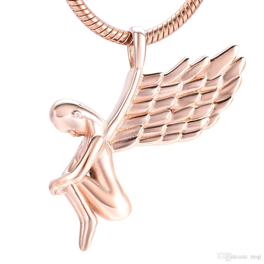 IJD10073 Ange Urnes pour les cendres de l'homme Collier crémation pendentif urne boîte fée avec des ailes Forme Dormir Quatre Couleurs en gros et au détail