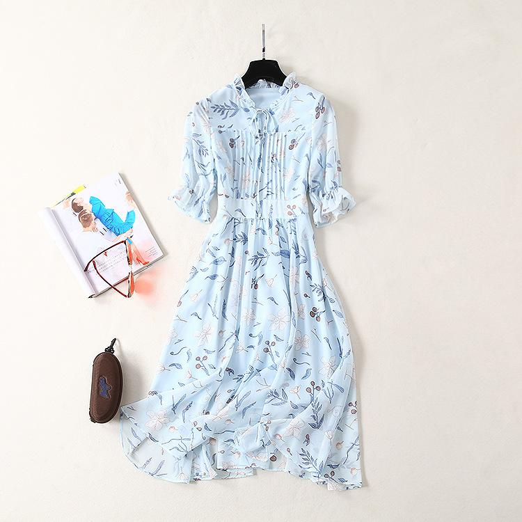 2019 Spring Summer Half Sleeve Crew Neck Floral Print With Ribbon Tie-Bow Mid-Calf Length Dress Luxury Runway Dresses A2621550423