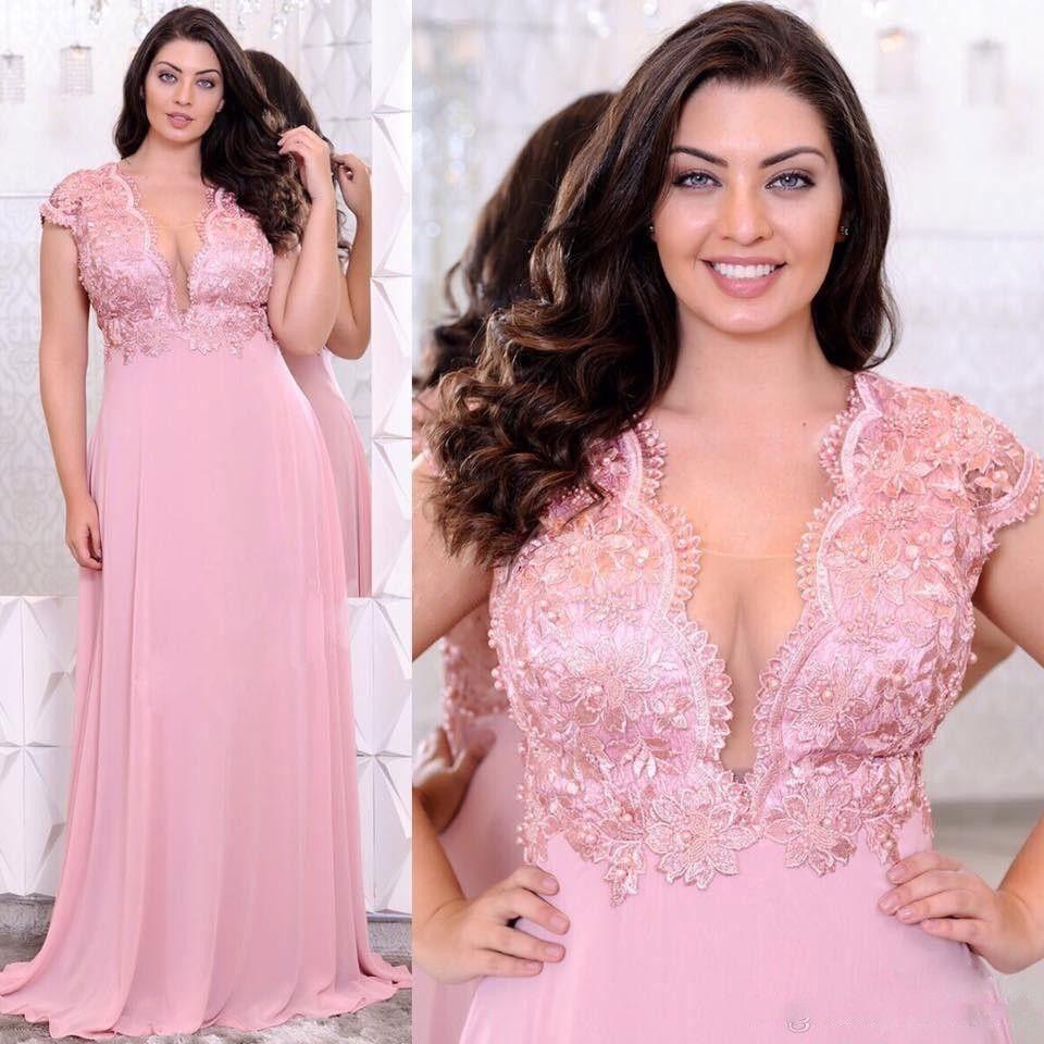 2020 Rose Plus Size Robes de soirée col V profond dentelle perlée Une ligne de bal Appliques Robes pas cher Longueur étage taille empire en mousseline de soie robe de bal