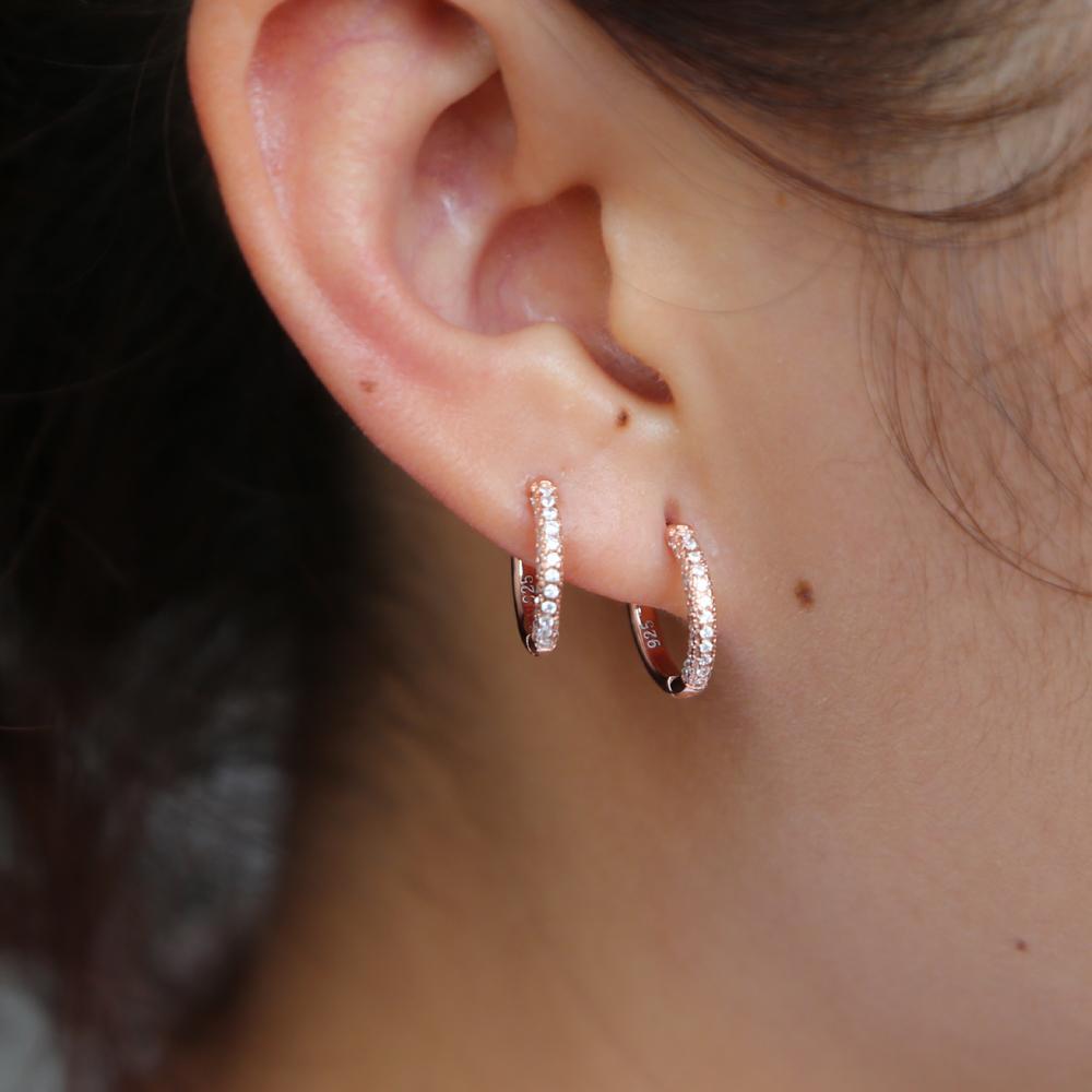 Cute 925 Sterling Silver Round Crystal Circle Small Loop Huggies Hoop Earrings For Women Delicate Cz Mini Jewelry Kids Baby Girl T190625