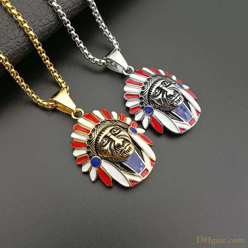 Fashion Punk Style Indian Chief Pendant Deisgn Stainless Steel Jewelry Necklace for Men