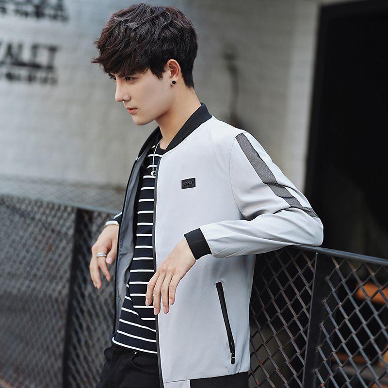 Frühling und Herbst dünne Männer Baseball-Kragen-Streifen gedruckt Mantel Students Versatile Large Size Mode Jacke für Herren