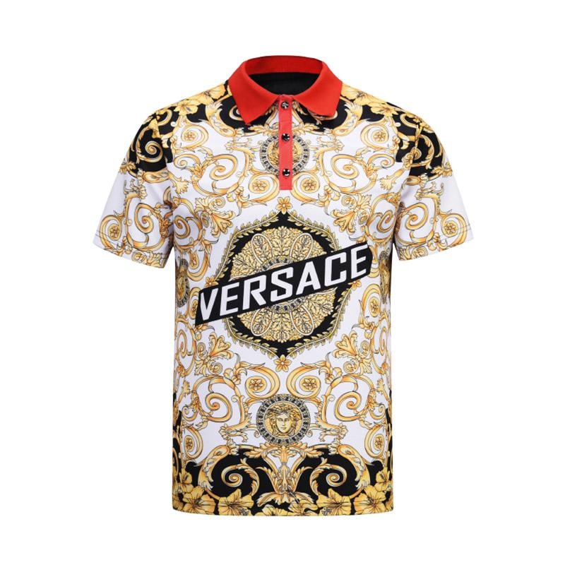 2019 Italian fashion classic luxury designer new men's polo shirt short-sleeved embroidered letters men's polo shirt Medusa t-shirt