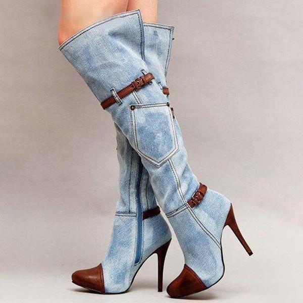 Femmes stretch Slim Cuissardes Sexy Fashion Cuissardes Talons Chaussures Boucle de ceinture Bottes hiver Talon Stiletto DA220 01