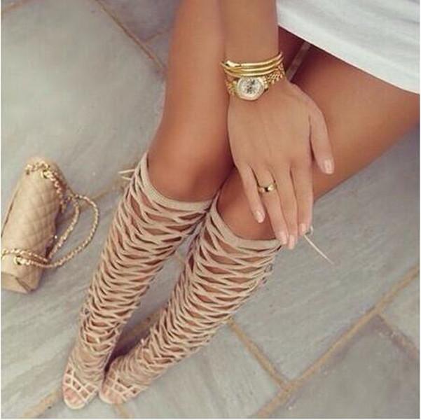 bayanlar sandalet çizme siyah beyaz çıplak Yaz Seksi Gladyatör Uyluk Yüksek Topuklar Sandalet Kadın Açık Burun Kesimi Yaz Boots Kadın askıları