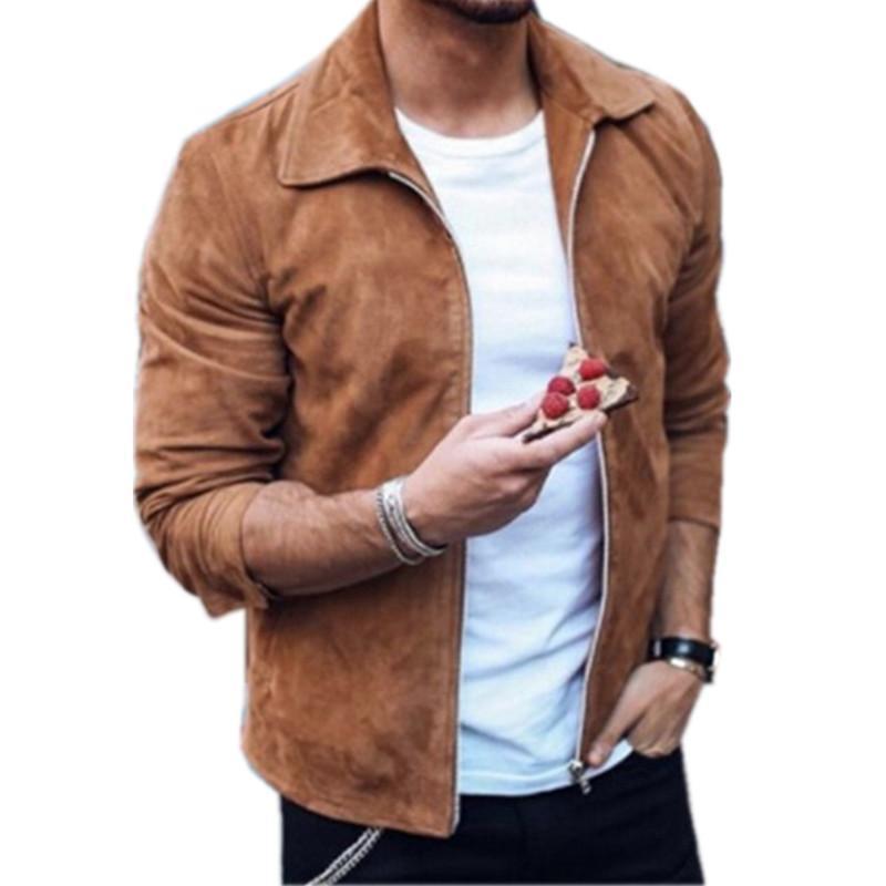 Brand New Men Fashion Hip Hop замша куртки Slim Fit Одежда Winderbreaker Zipper пальто мотоцикла Streetwear Размер S-3XL